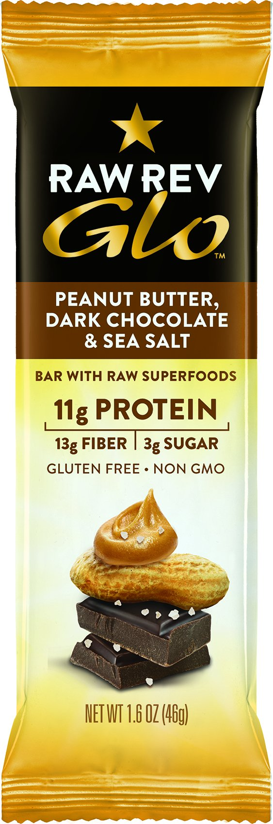 Raw Rev Glo Protein Bars, Peanut Butter, Dark Chocolate & Sea Salt, 1.6 Ounce Bar (Pack of 12)