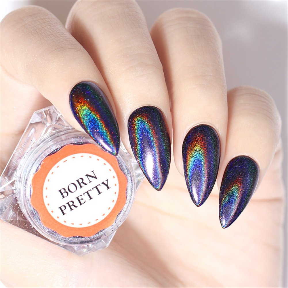 Born Pretty 0.5g Nail Art Purple Holographic Powder Rainbow Color Laser Mirror Glitter Manicure Pigment Dust