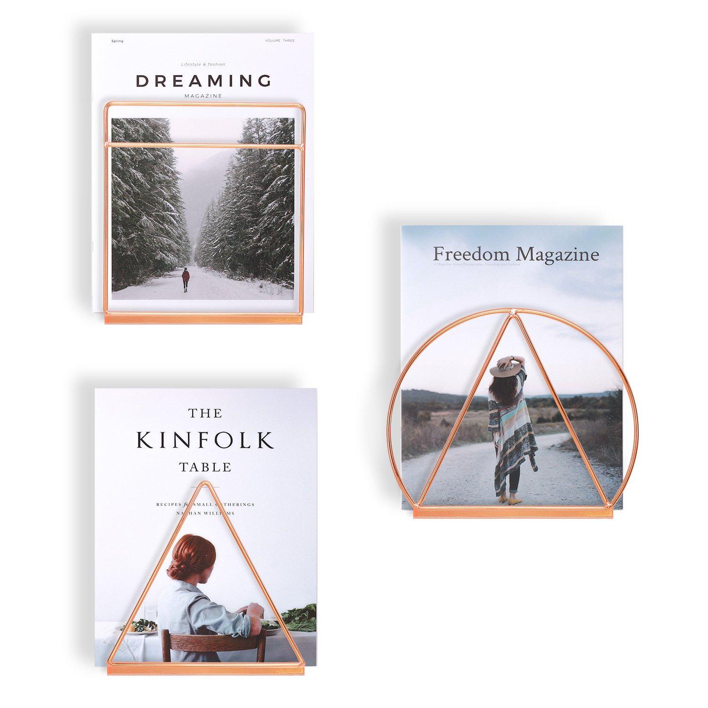 Simmer Stone Wall Mount Magazine Holder, Geometric Decorative Magazine & Book Rack, Triangle Rectangular Circle Trio,Rose Gold/Copper