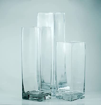 Amazon Com Tall Square Glass Vase Set Of 18 Perfect As Table Top