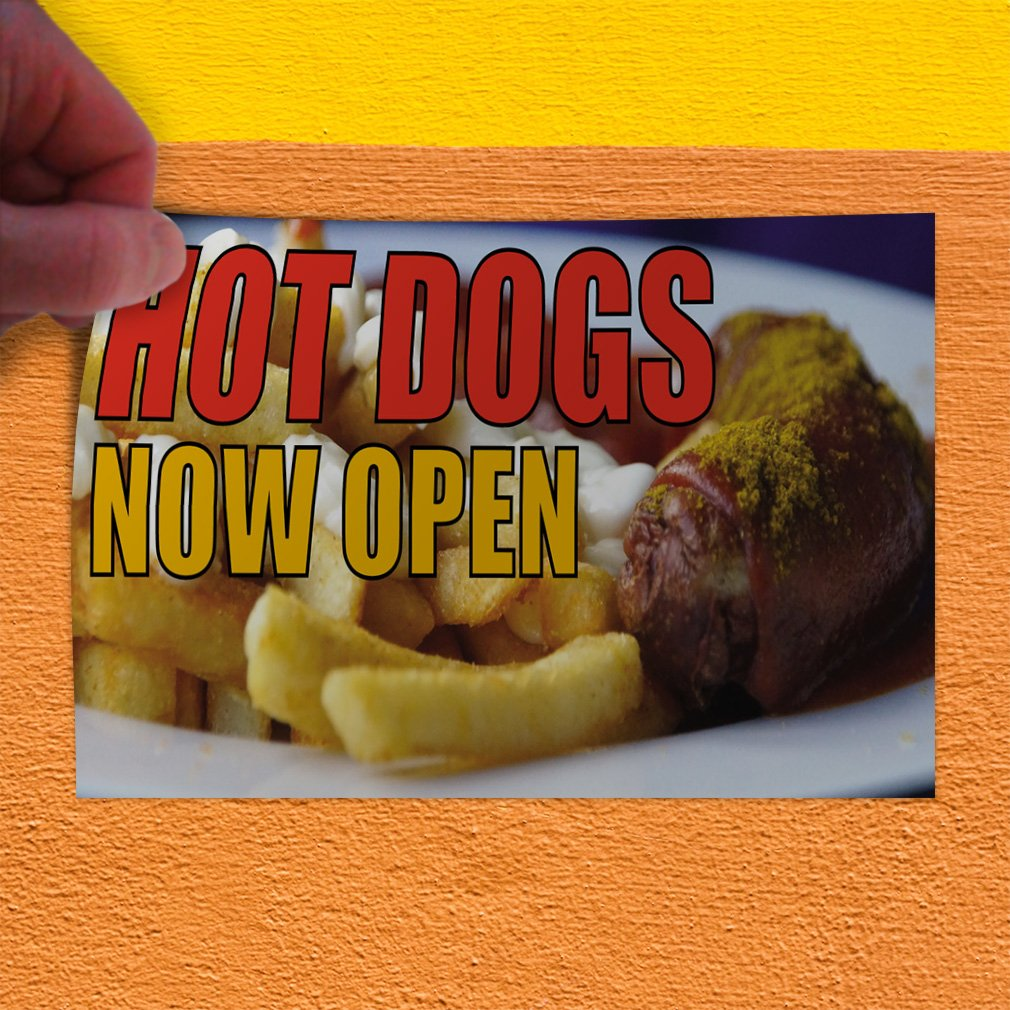 Amazon com decal sticker hot dogs now open restaurant food hot dogs now open outdoor store sign yellow multiple sizes available 36inx24in