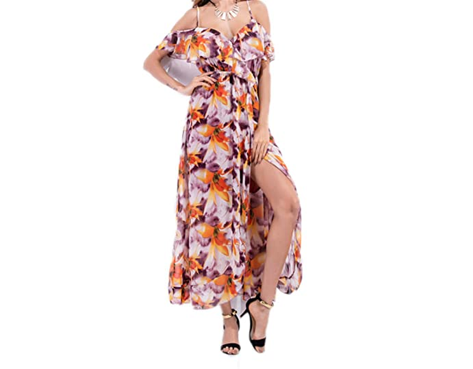Twilaisaac Fashion dress floral sexy v pescoço do vintage boemia sexy vestido de chiffon guaze dress