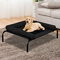 PaWz Pet Bed Heavy Duty Frame Hammock Bolster Trampoline Dog Puppy Mesh S Black Small Black