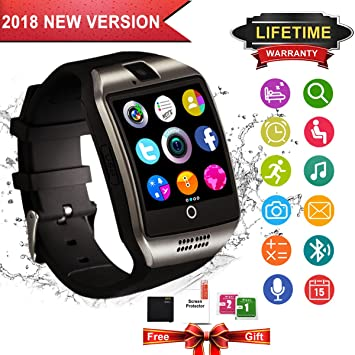 Montre Connectée, Bluetooth Smart Watch Etanche Montre Intelligente avec Caméra Supporte SIM TF Carte, Pédomètre, Facebook, ...