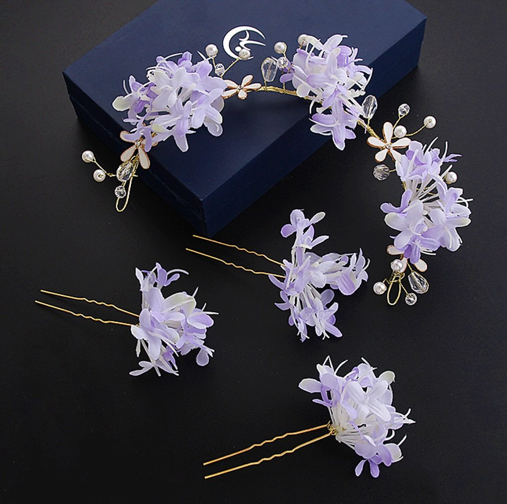 Wreath Korean Bride Head Flower Sen Female Hand Flower Headdress Wedding Dress Wedding Dress Dress Accessories (Color : Purple)