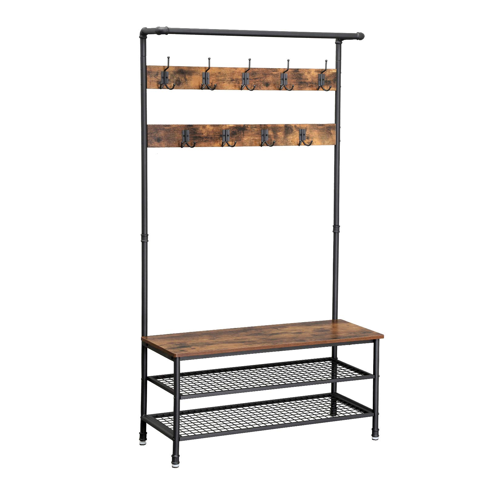 VASAGLE Industrial Storage Bench, Pipe Style Large Hat and Coat Stand with 9 Hooks and Shoe Rack, Multifunctional Hall Tree, Sturdy Iron Frame UHSR47BX, Rustic Brown