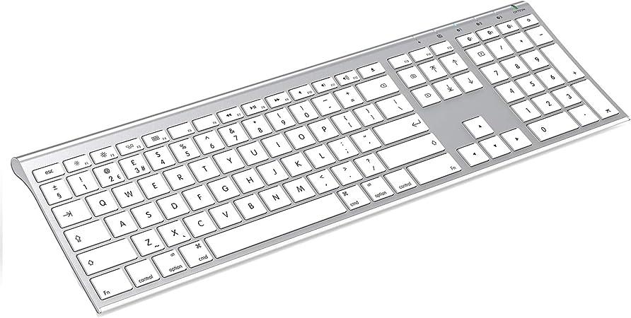 Teclado inalámbrico Bluetooth para Mac, Jelly Comb teclado recargable de tamaño completo Qwerty UK Layout para iPad, MacBook, iPhone, iMac, Mac OS X, ...