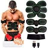 Muscle Stimulator, EMS Abs Trainer Abdominal Belt USB Rechargeable Muscles Toner for Abs Arms Legs with 12PCS Replacement Gel Pads&Support Belt&8 Modes 10 Levels for Men