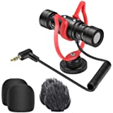 Neewer Universal Video Microphone, External Dual-head Camera Microphone Vlog Mic with Shock Mount, Furry Windscreen Compatibl