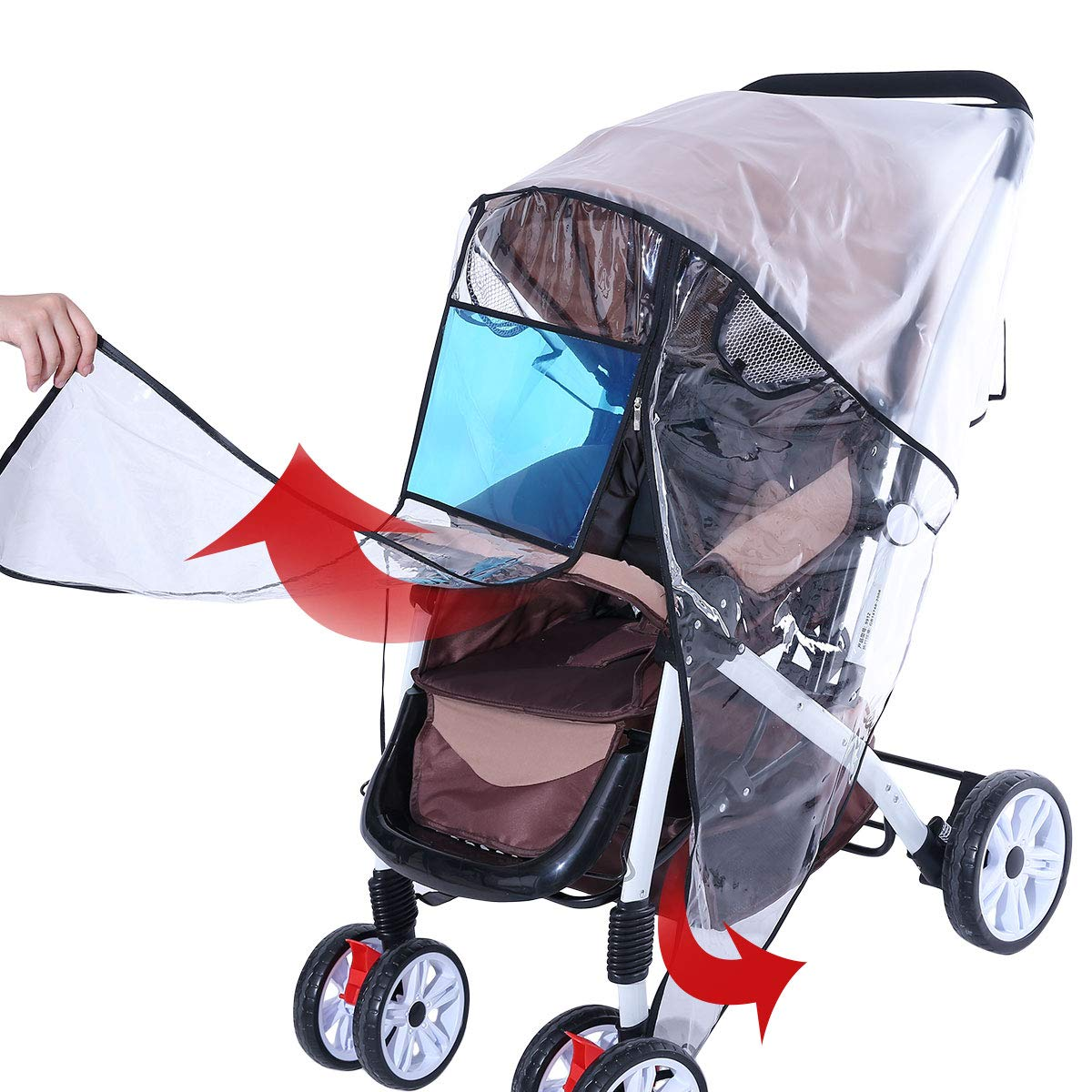 Hrzeem Stroller Rain Cover Stroller Cover Universal Baby Stroller Weather Shield with Storage Pouch EVA Clear Zip Front Opening Waterproof Windproof Protection Easy to Install for Outdoor Use (Black) by Hrzeem (Image #4)
