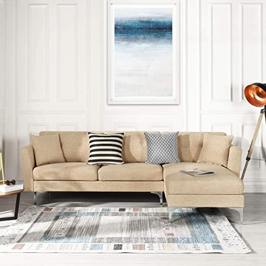 Beige Upholstered Linen Sectional Sofa Couch Modern L-Shape Sectional, Sectional Sofas and Couches, Sofa Couch with Chaise, for Small/Large Living ...