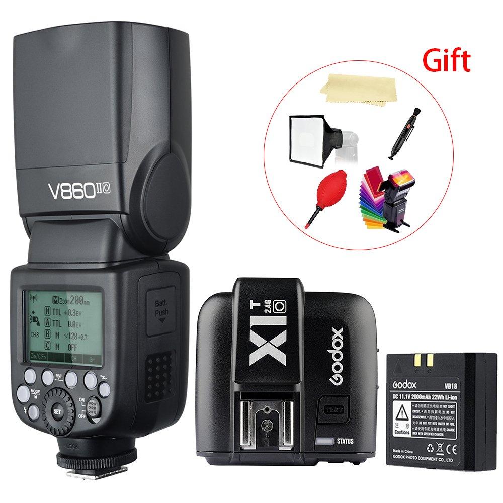 Godox V860II-O TTL 2.4G High Speed Sync 1/8000s GN60 Li-ion Battery Camera Flash speedlite light + Godox X1T-O Wireless Remote Flash Trigger Transmitter for Olympus Panasonic Camera