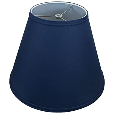FenchelShades.com Lampshade 7  Top Diameter x 14  Bottom Diameter x 11  Slant Height with Washer (Spider) Attachment for Lamps with a Harp (Navy Blue)