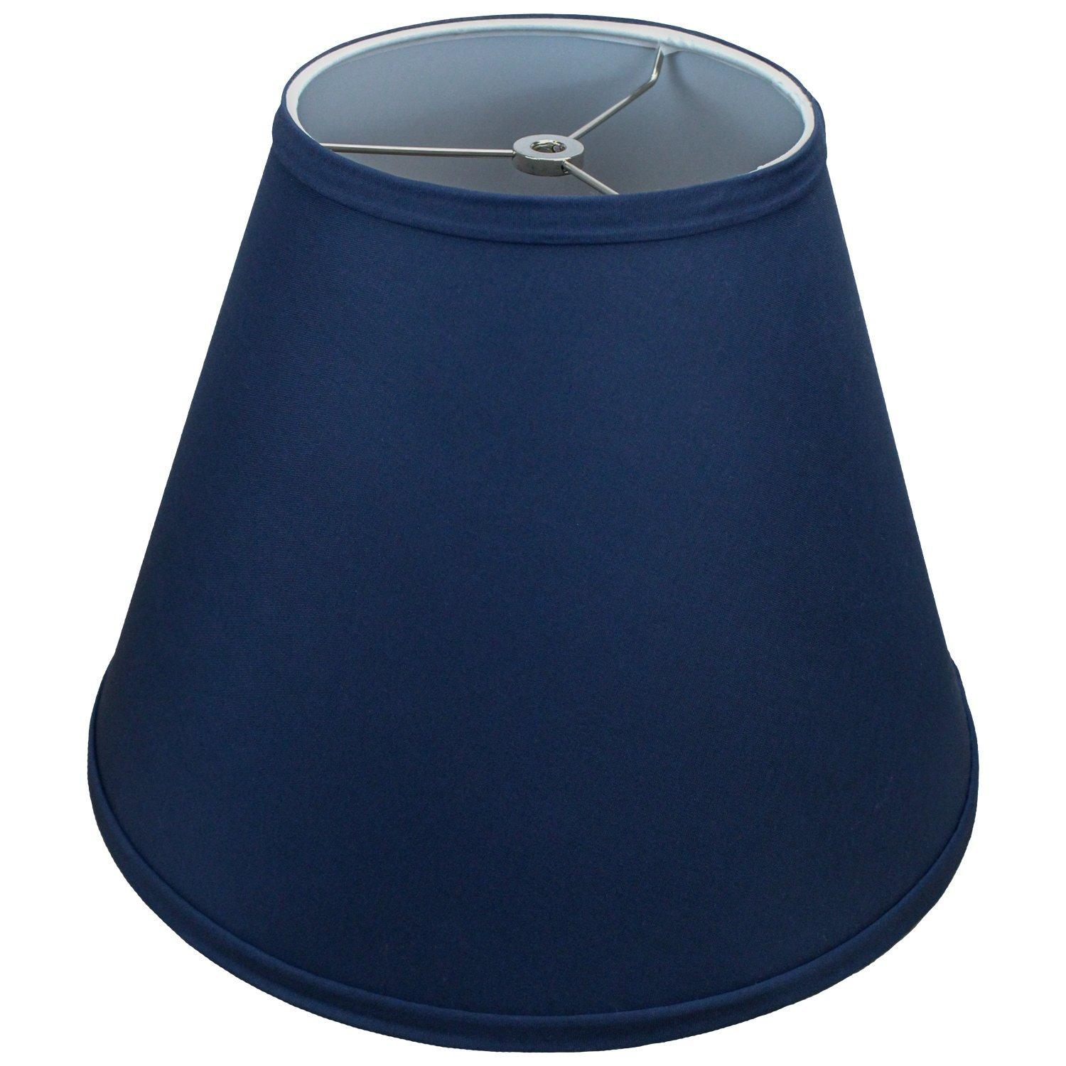 FenchelShades.com Lampshade 7'' Top Diameter x 14'' Bottom Diameter x 11'' Slant Height with Washer (Spider) Attachment for Lamps with a Harp (Navy Blue)