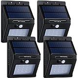 VicTsing 4 PACK 320lm Lampada Solare LED ad Energia Impermeabile con Sensore di Movimento, Luci Solari da Esterno con 16 LED Lampadine, per Casa/ Giardino/ Scale/ Cortile/ Fuori Muro, Nero