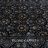 Yilong 6 x9  Handmade Rugs Silk Persian Antique Classic Floral Design Carpet for Living Room (Black) Q1570