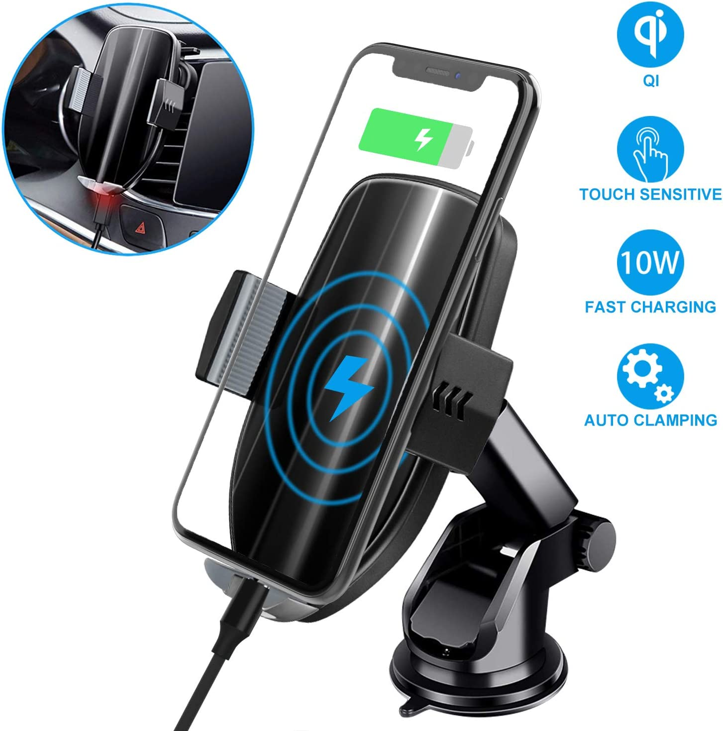 Silver Qi Wireless Car Charger,Auto Clamping Car Mount,10W//7.5W Fast Charging,Air Vent Dashboard Phone Holder Compatible with iPhone Xs MAX//XS//XR//X//8//8+ Samsung S10//S10+//S9//S9+//S8//S8+