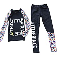 Girls Long Sleeve Rashguard Sets Crewneck Sun Protection Two-Piece Swimwear 5-6T White/Blue
