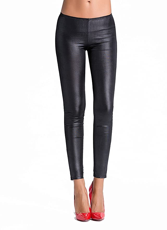 6f261628ffb YIANNA Women s Gothic Punk Wet Look Leggings Lace up Back at Amazon Women s  Clothing store