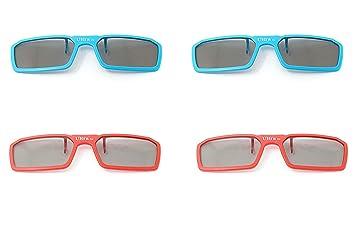 Ultra 4 x Clip sur des Lunettes 3D Passives 2 Bleu 2 Rouge pour Hommes  Femmes 0d6cbe342f0f