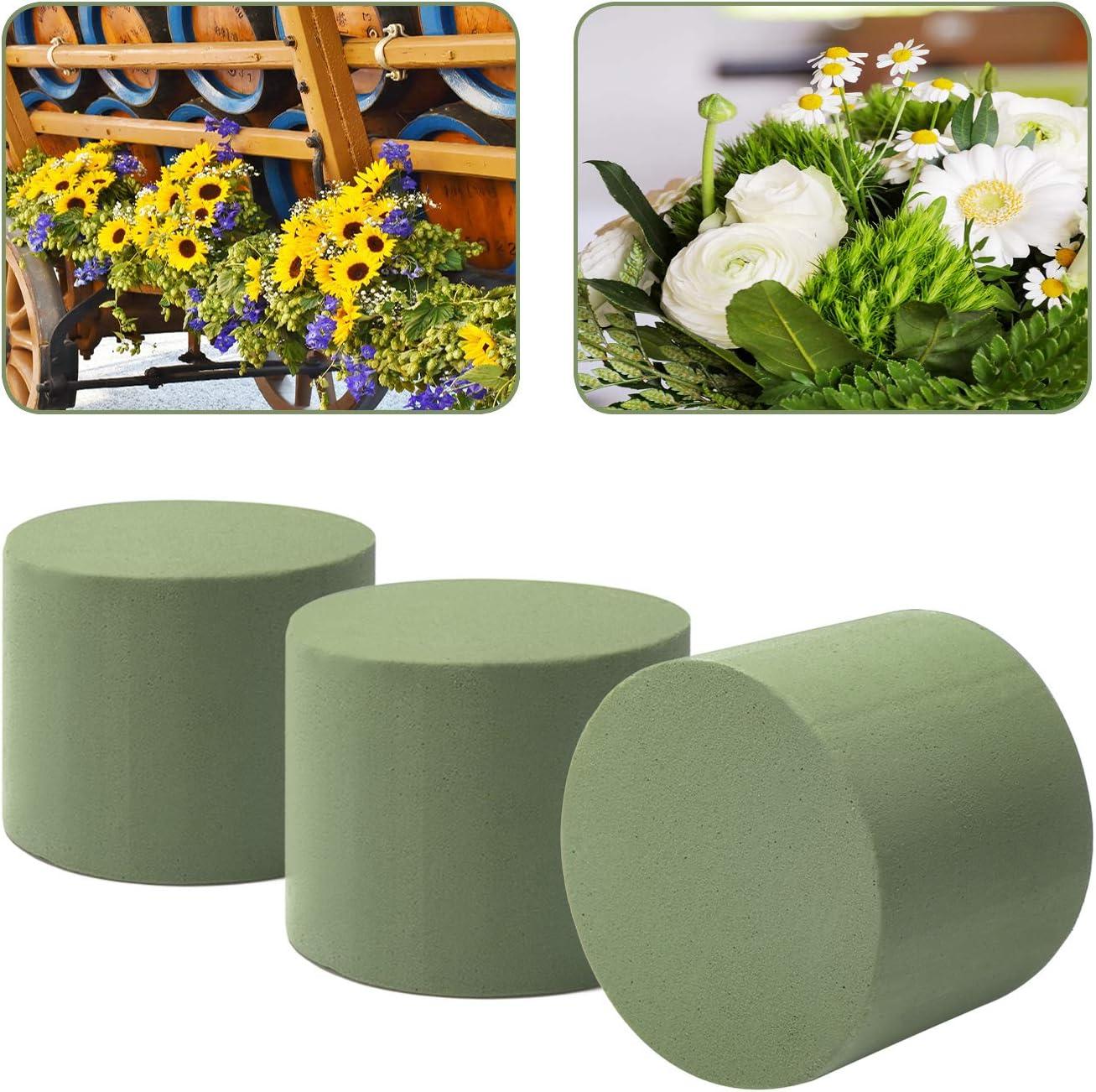 6 Piezas - Cilindro Grande Espuma para macetas para Flores Frescas com-four/® Compuesto para macetas 6X para arreglos Florales en Forma cil/índrica Esponja para Hacer Manualidades para Bodas