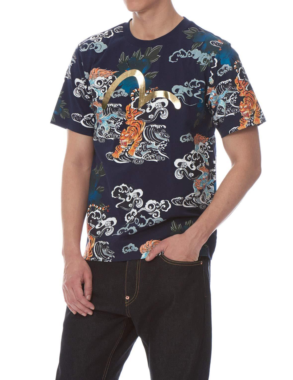 EVISU Baku & Nue Allover Print T-Shirt Blue