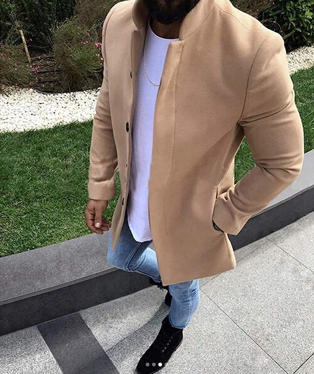 Fashionhe Mens Warm Woolen Coat Solid Color Business Jacket Casual Winter Trench Coat Outwear