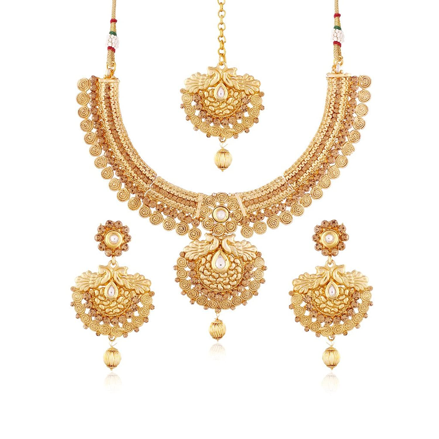 Gold necklace designs with price in rupees jewelry gallery - Buy I Jewels Gold Plated Traditional Necklace Set With Earrings Maang Tikka For Women Ms115 Online At Low Prices In India Amazon Jewellery Store