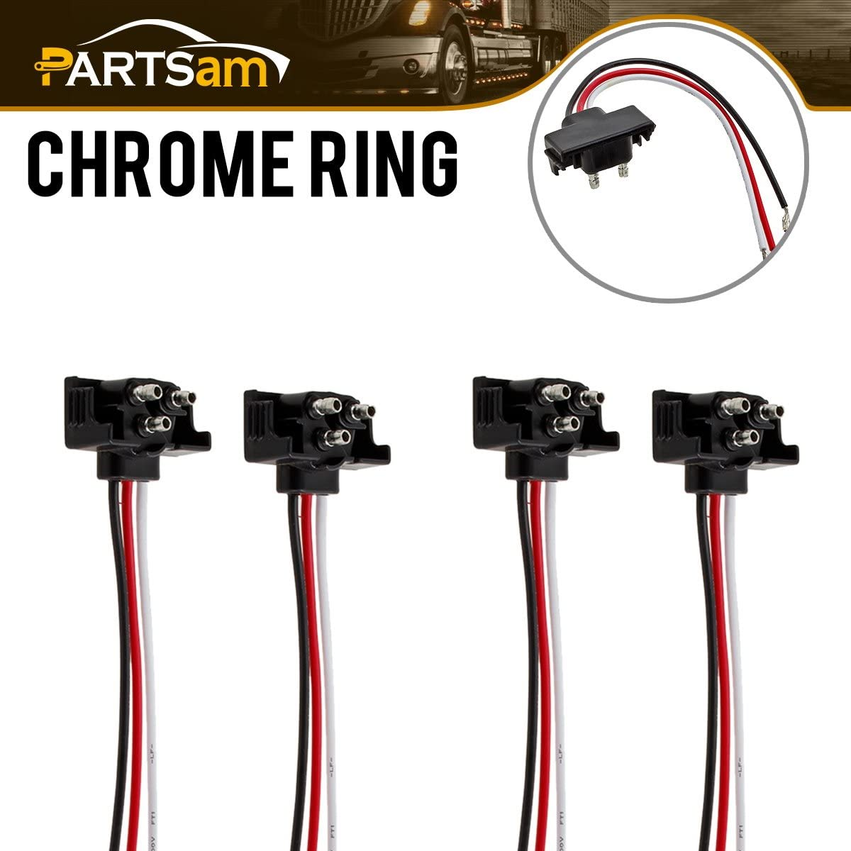 Amazon.com: 4x 3 Way Prong Molded Plug Pigtail Harness for Truck Trailer  Stop Turn Tail Light: AutomotiveAmazon.com