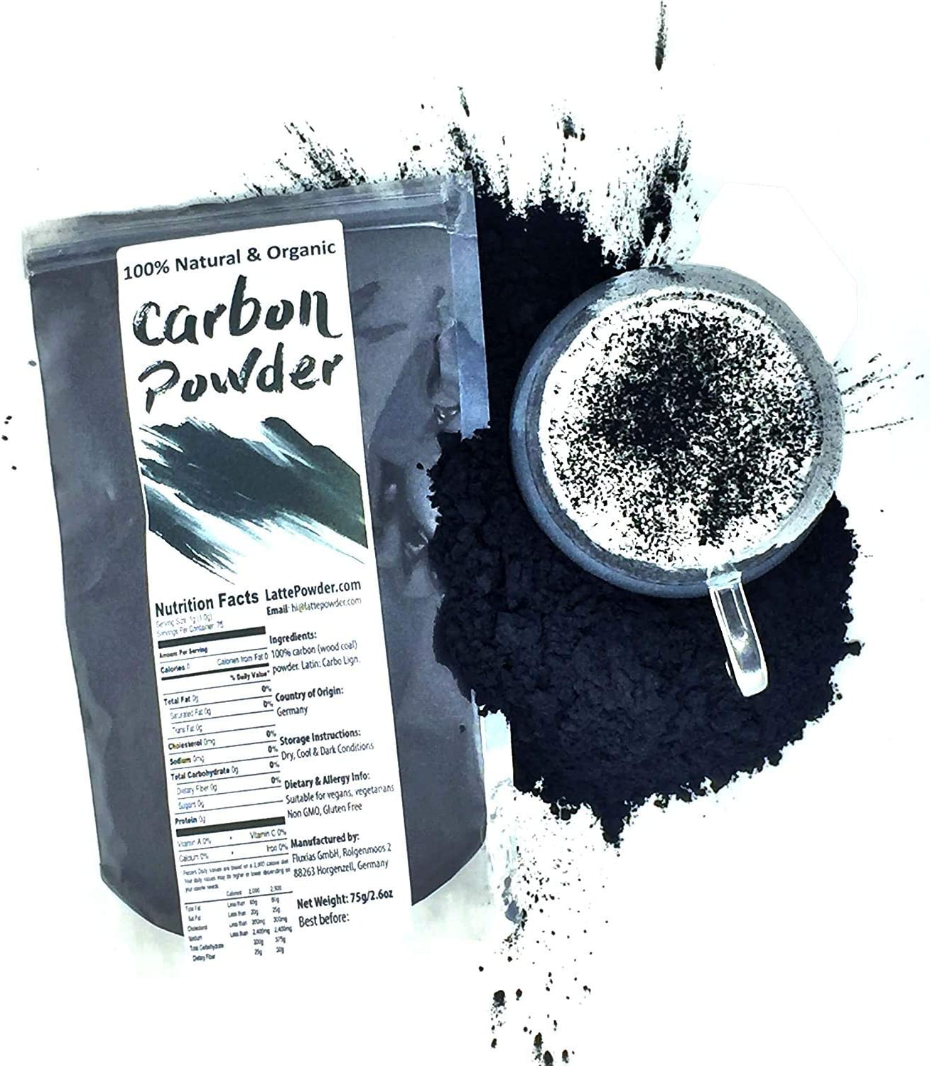 Raw Natural Charcoal Powder - Made from German Hardwood - 100% Organic | Perfect to dye Beverages, Lattes, Cakes and Culinary Delights Pitch Black (Natural Black Food dye) | Net Weight: 2.6oz / 75g
