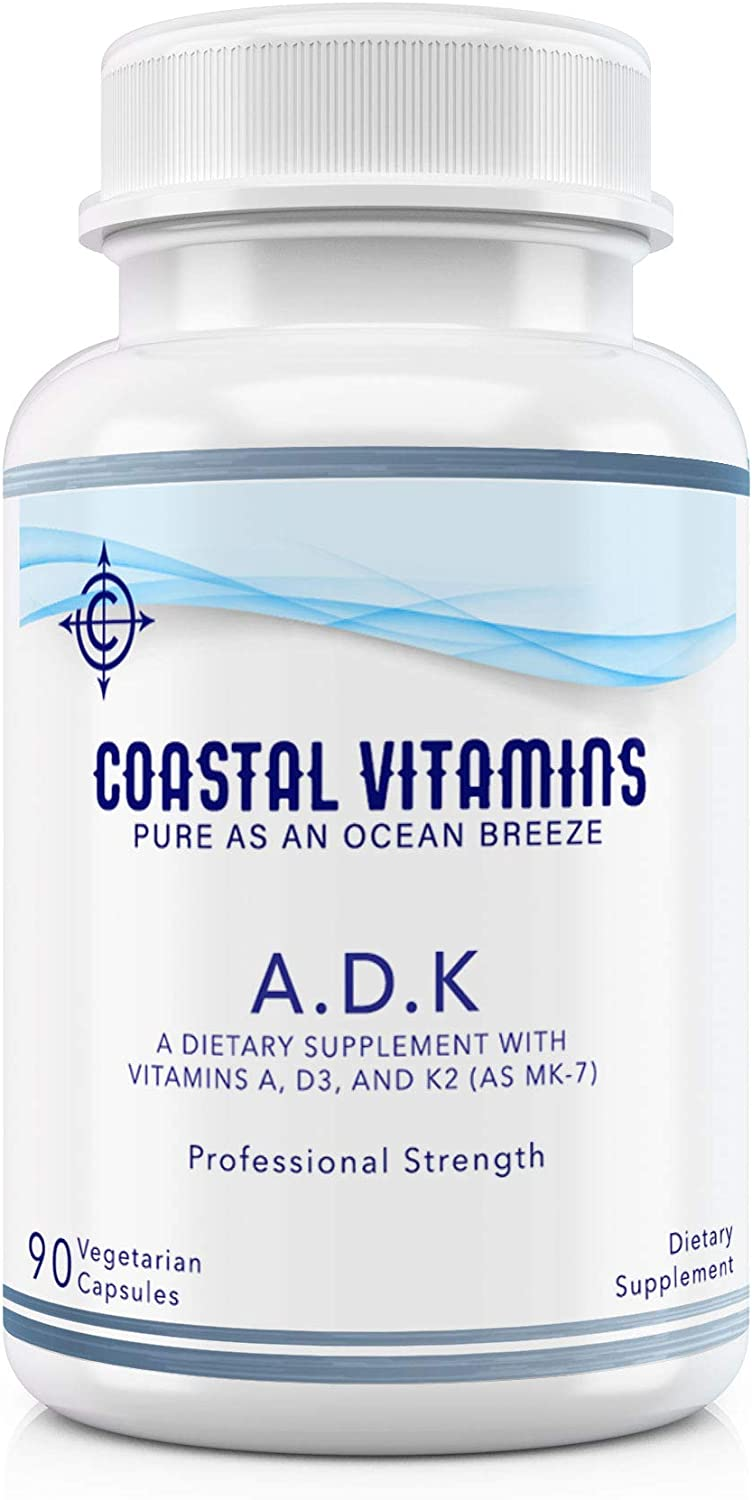 Coastal Vitamins ADK 90 Ct Vitamins A 5,000 iu D 5,000 iu and K2 (as MK-7) 500 mcg - Physician Formulated for Strong Bones, Heart, Eye and Immune Health - Non-GMO, Soy & Gluten Free Organic Ingredient