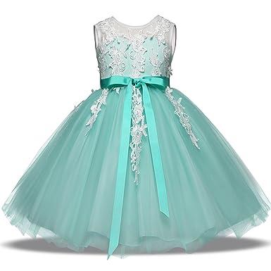 NNJXD Girl Sleeveless Lace Embroidery Chiffon Princess Pageant Dress Size  (100) 2-3 d541312b8678