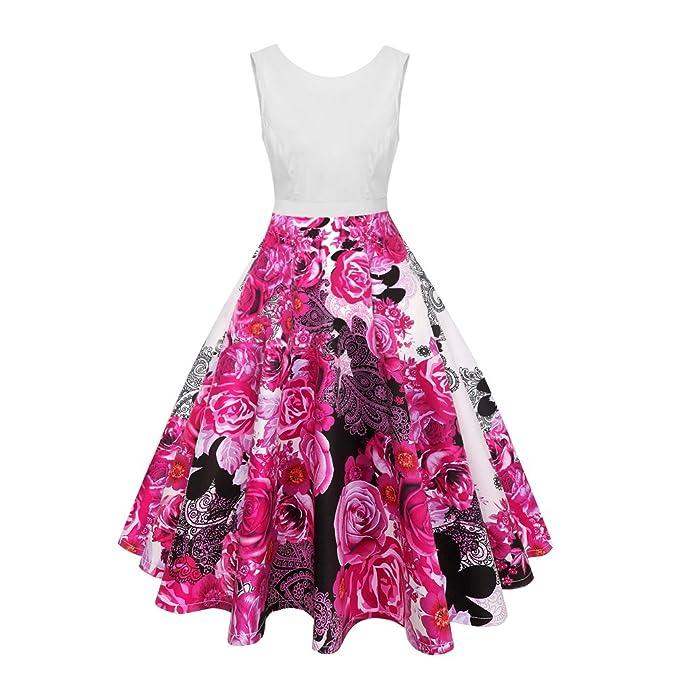 Xinwcanga Mujer Vestido de Fiesta Espalda Abierta Sin Mangas Flores Estampado Vintage Rockabilly Vestidos (Rosa
