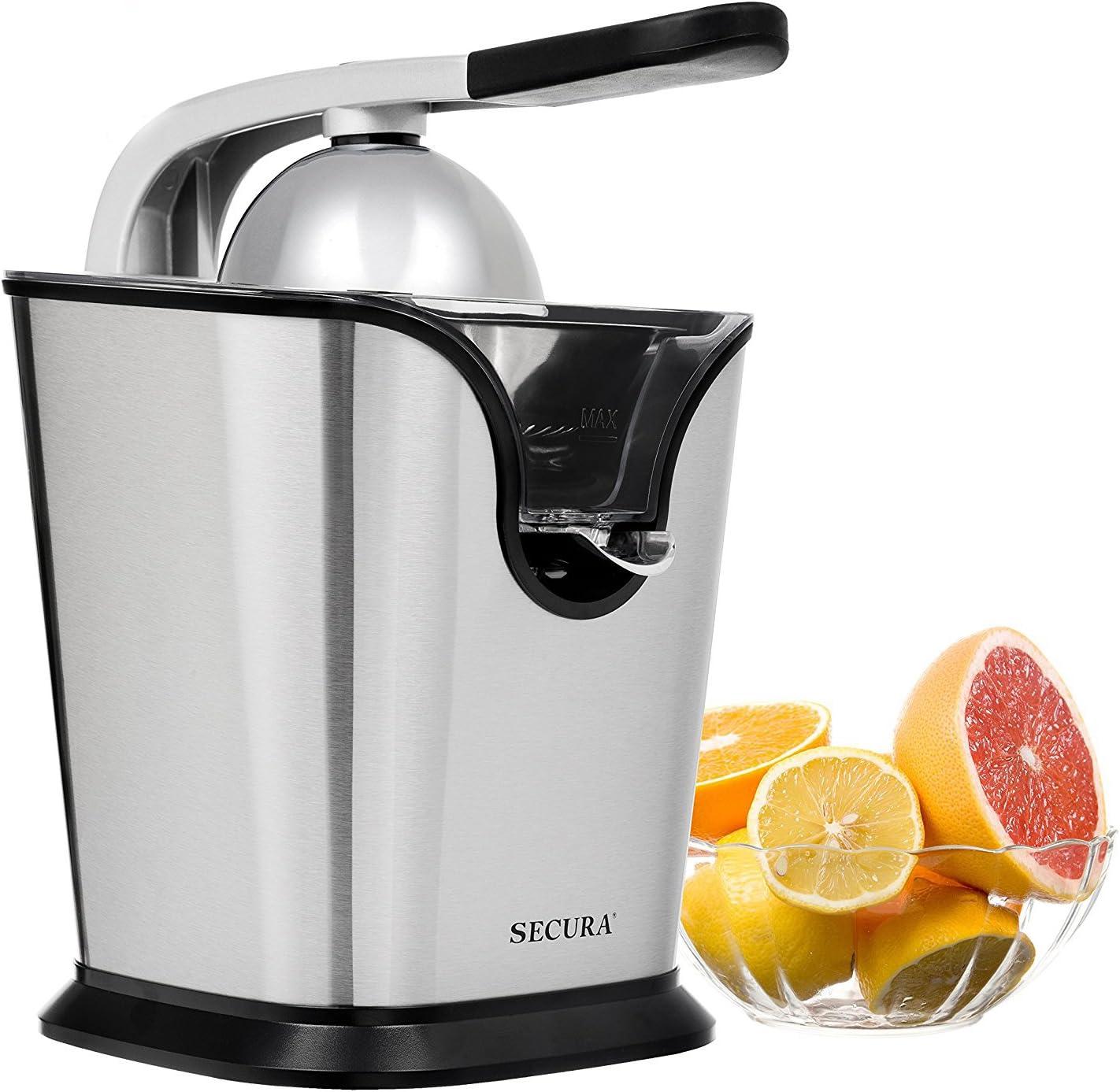 Electric Citrus Juicer Press | 160 Watt Stainless Steel Orange Juice Squeezer by Secura