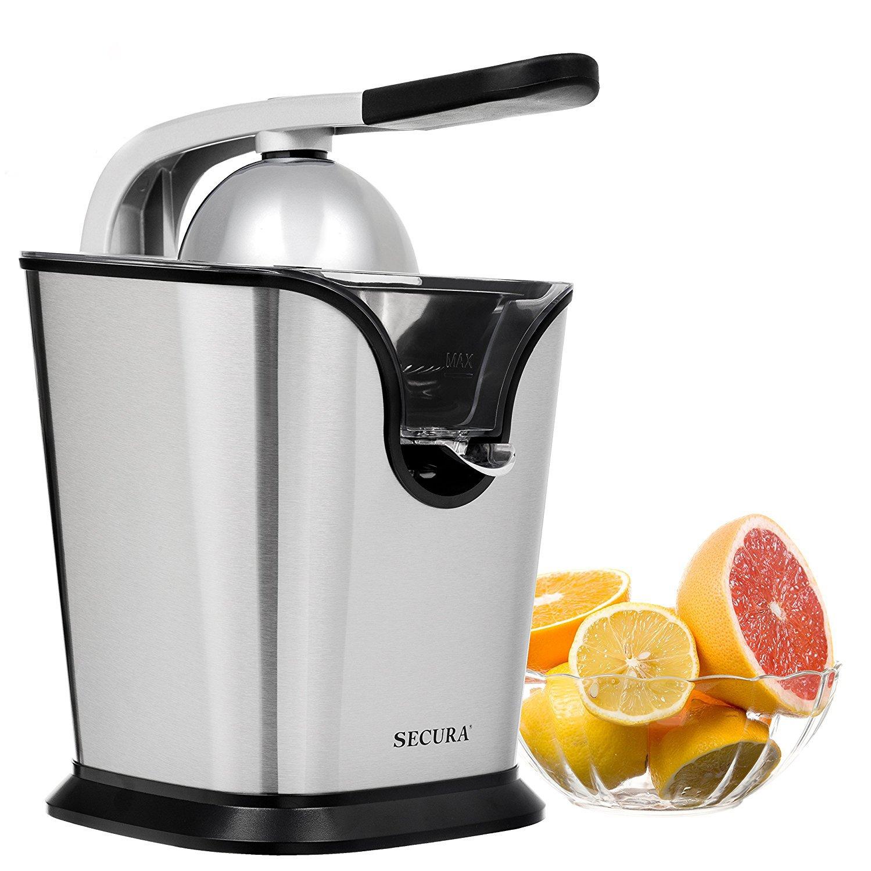 Electric Citrus Juicer Press | 160-Watt Stainless Steel Orange Juice Squeezer by Secura