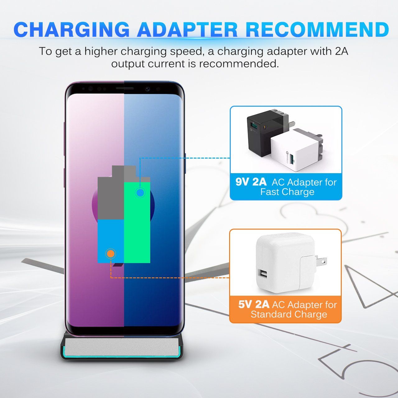 iPhone X Wireless Charger, ELLESYE 10W Fast Wireless Charger Charging Stand for Galaxy S9 S9 Plus Note 8 S8 S8 Plus S7 S7 Edge Note 5 S6 Edge, 5W Standard Charge for iPhone X/8/8 Plus (No AC Adapter) by ELLESYE (Image #6)