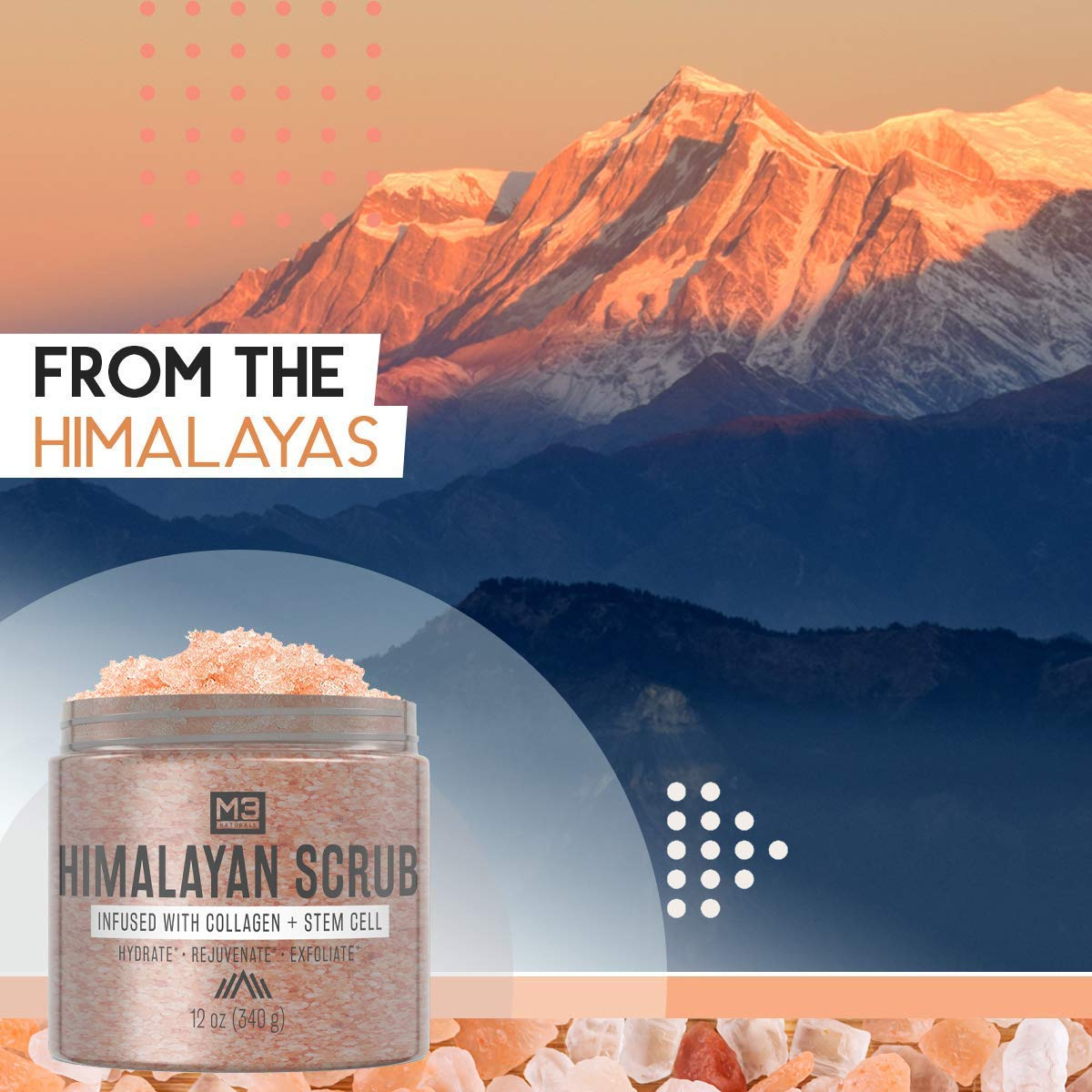M3 Naturals Himalayan Salt Scrub Infused with Collagen and Stem Cell Natural Exfoliating Body
