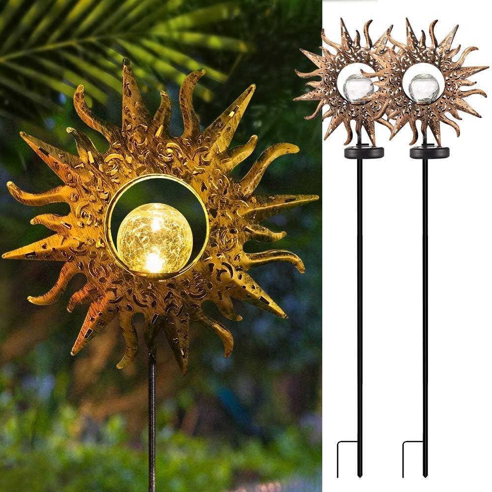 Solar Lights Outdoor Decorative, Eoyizw Solar Garden Lights 2 Pack Metal Sun Crackle Glass Globe Stake Waterproof Garden Decor for Outside Lights Pathway, Porch, Landscape Ornament
