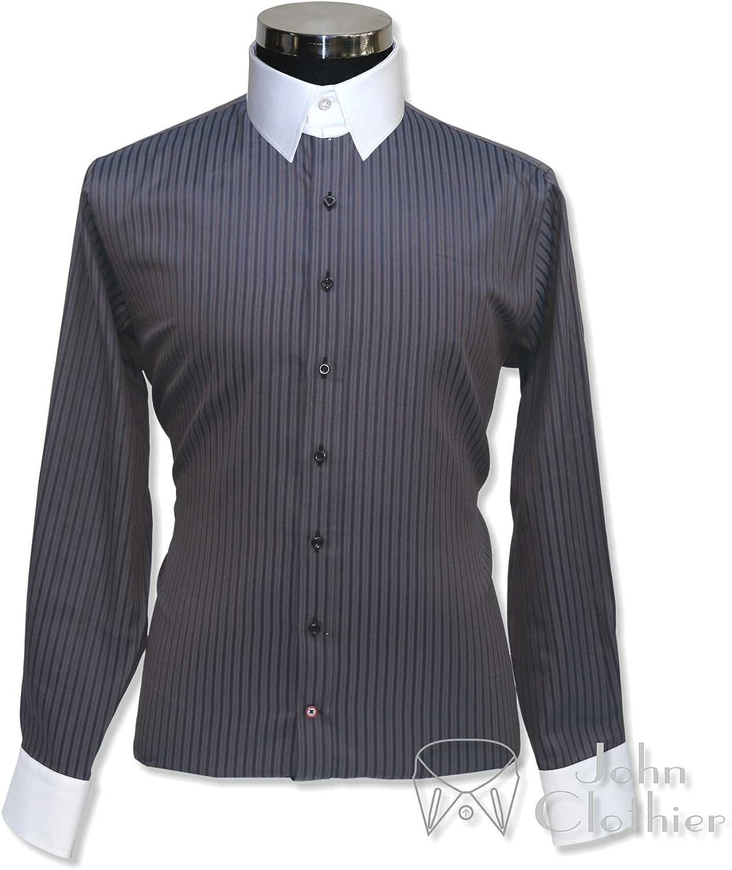 WhitePilotShirts Tab Collar Mens Bankers Grey Stripes Shirt 100/% Cotton Loop Collar Single Cuff Gents 100-45