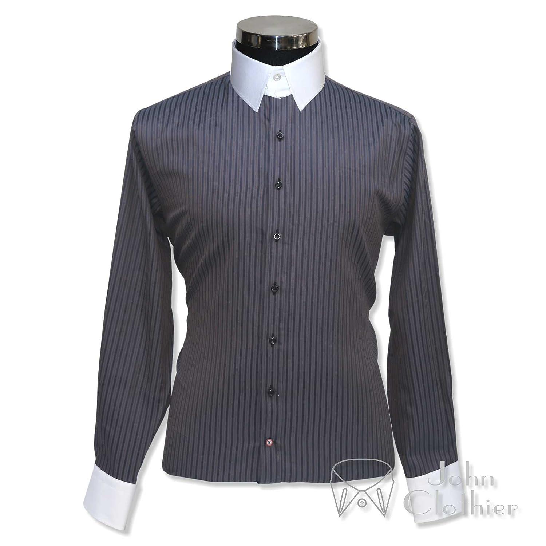Whitepilotshirts Tab Collar Mens Bankers Grey Stripes Shirt 100