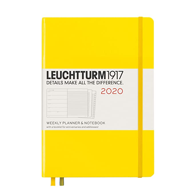 LEUCHTTURM1917 359882 Agenda semana vista & Libreta tapas duras Medium (A5) 2020, con cuadernillo suplementario, limón, en inglés
