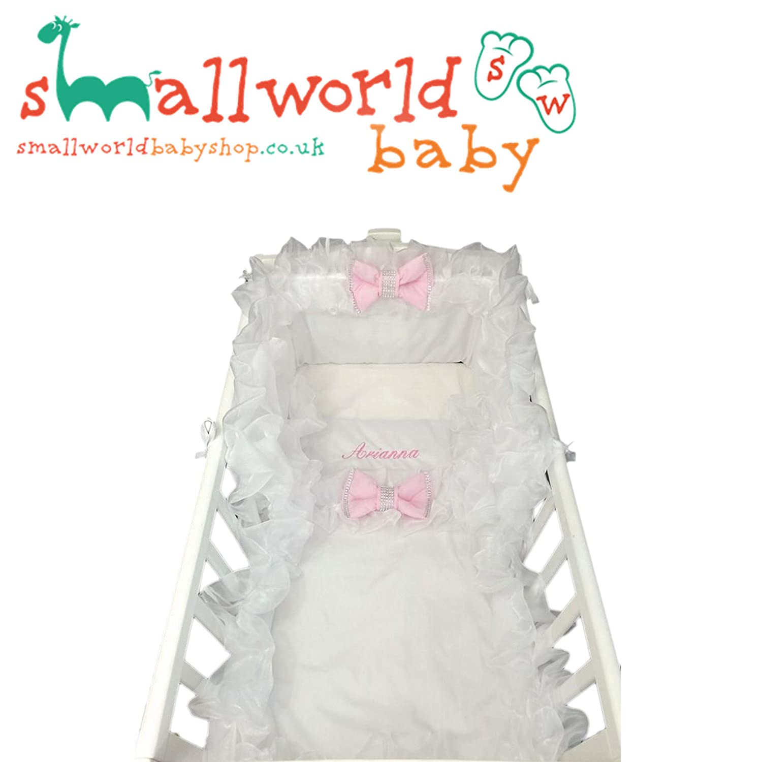 Personalised White Frilly Bling Pink Bow Crib Bedding Small World Baby Shop