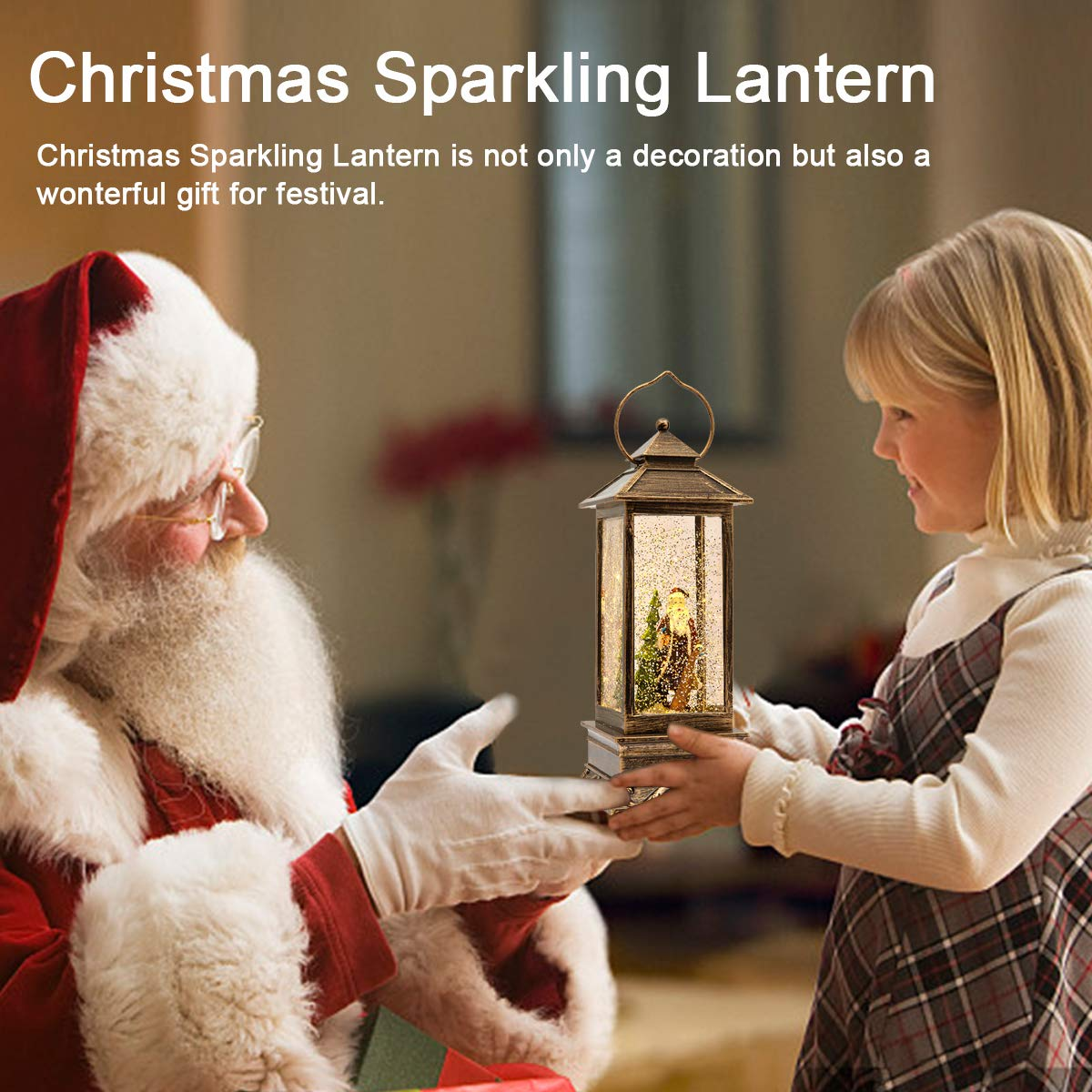 Christmas Lighted Musical Jesus Christ Nativity Snow Globe Lantern with Swirling Glitter and Battery /& USB Powered Color Light for Home Decoration Holder Lantern Christmas Gift