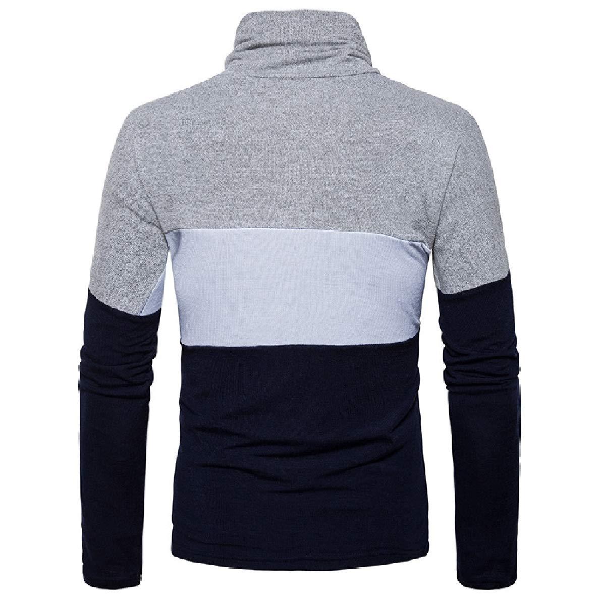 Winwinus Mens Bodycon Turtleneck Plus Size Business Top Tee Sweater