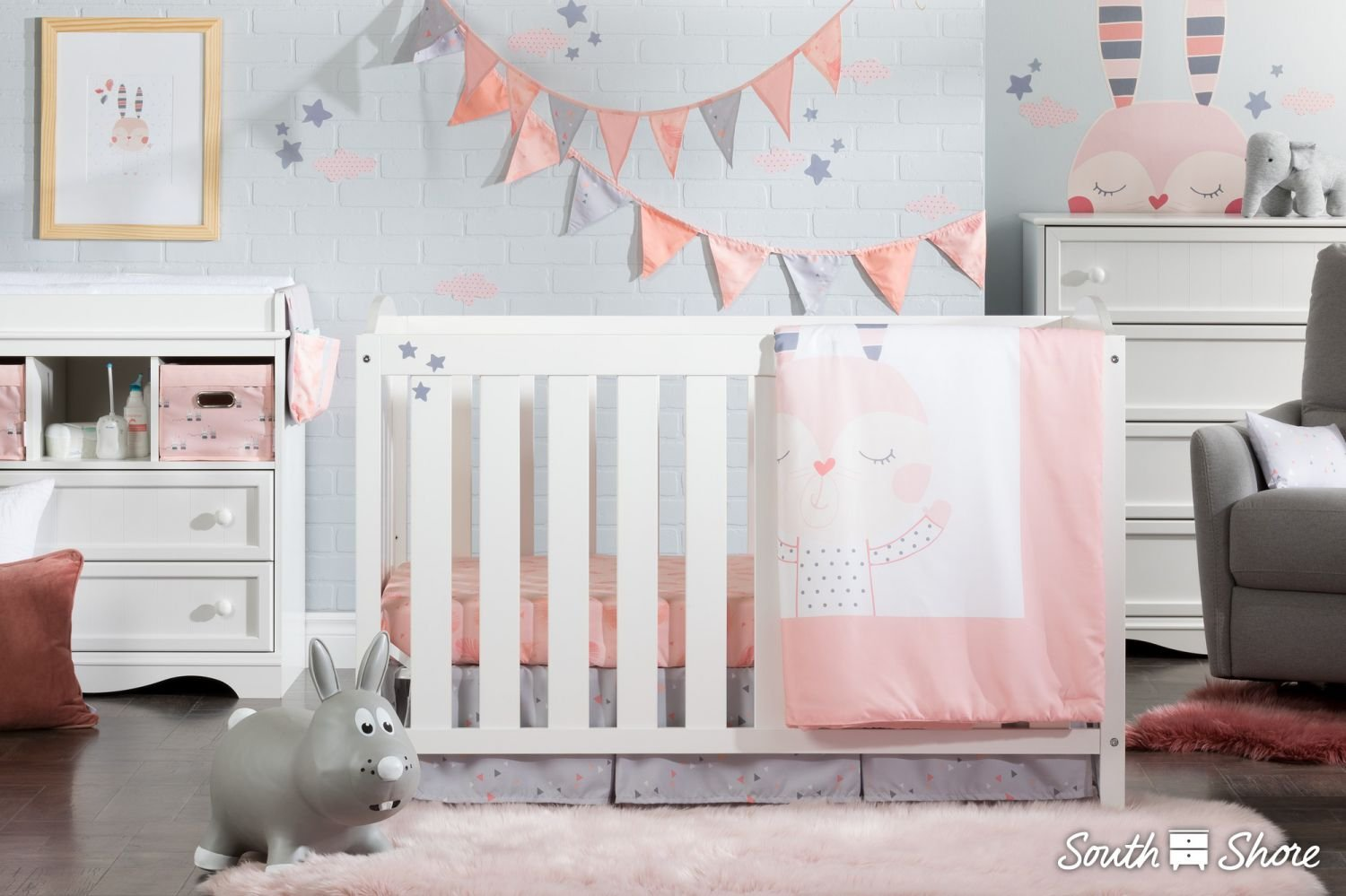 South Shore Doudou The Rabbit 3-Piece Baby Crib Bed Set and Pillow, Pink by South Shore (Image #4)