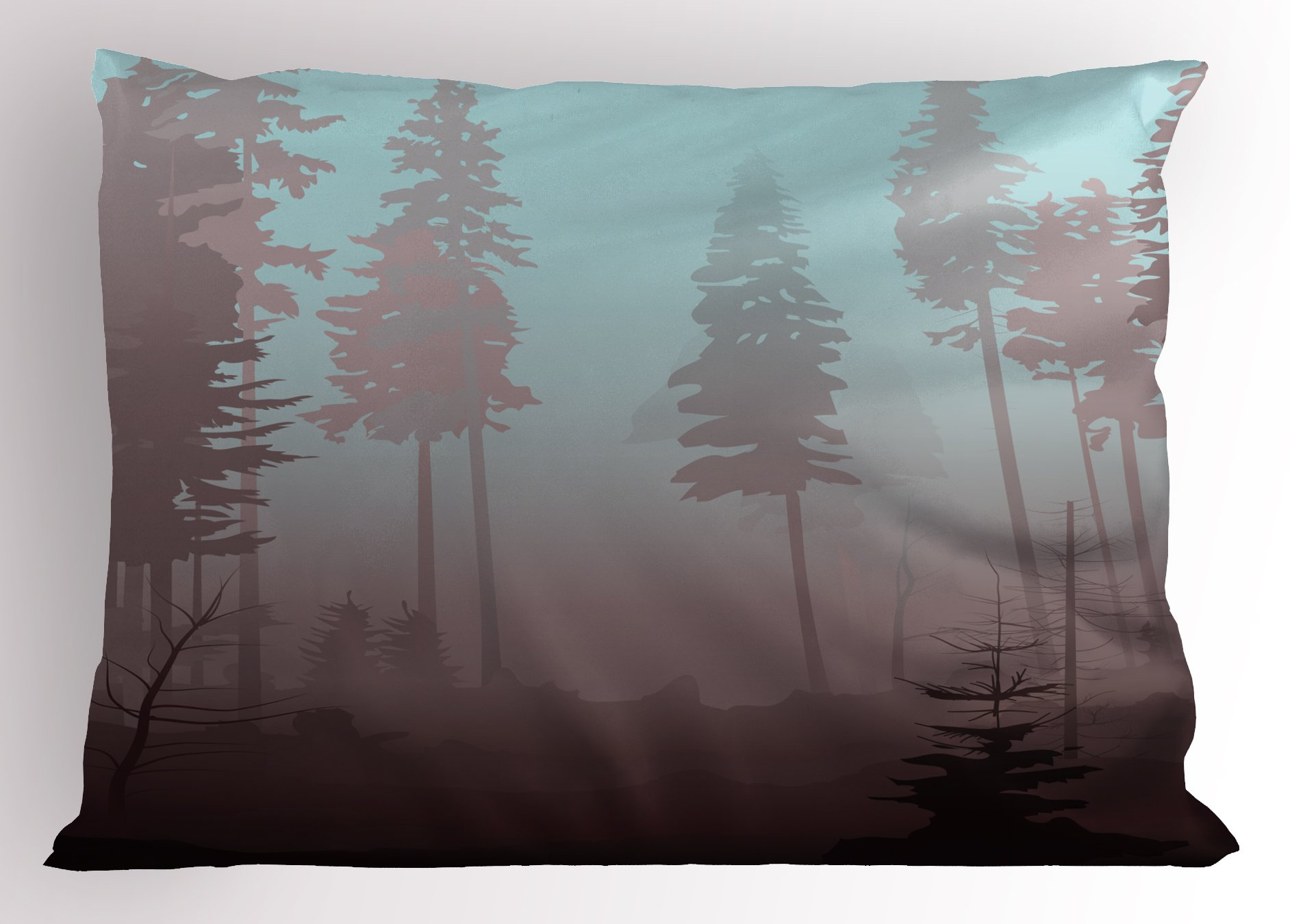 Ambesonne Forest Pillow Sham, Early Morning in Mysterious Woods with Heavy Fog Coniferous Trees, Decorative Standard King Size Printed Pillowcase, 36 X 20 inches, Pale Blue Dried Rose Maroon by Ambesonne (Image #1)