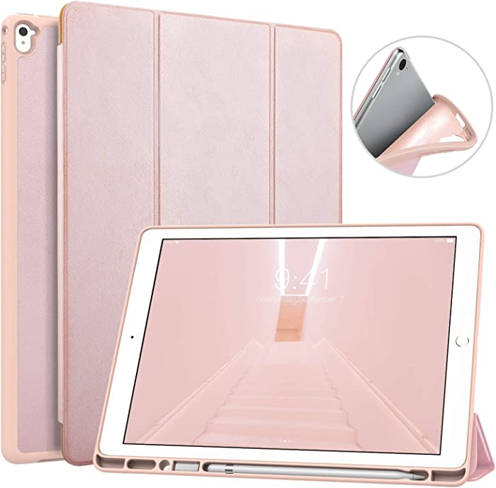 MoKo Case Fit iPad Pro 12.9 2017/2015 with Pencil Holder - Slim Lightweight Smart Shell Stand Cover Case with Auto Wake/Sleep Fit iPad Pro 12.9 Inch Tablet(1st & 2nd Gen) - Rose Gold