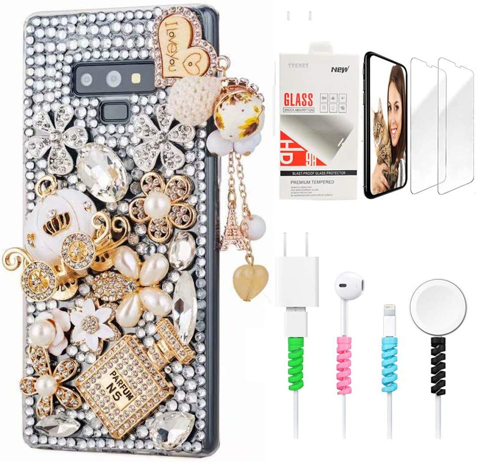 STENES Bling Case Compatible with LG Stylo 2 - Stylish - 3D Handmade Sparkle Series Heart Pendant Pumpkin Carriage Flowers Design Cover with Screen Protector & Cable Protector - Gold