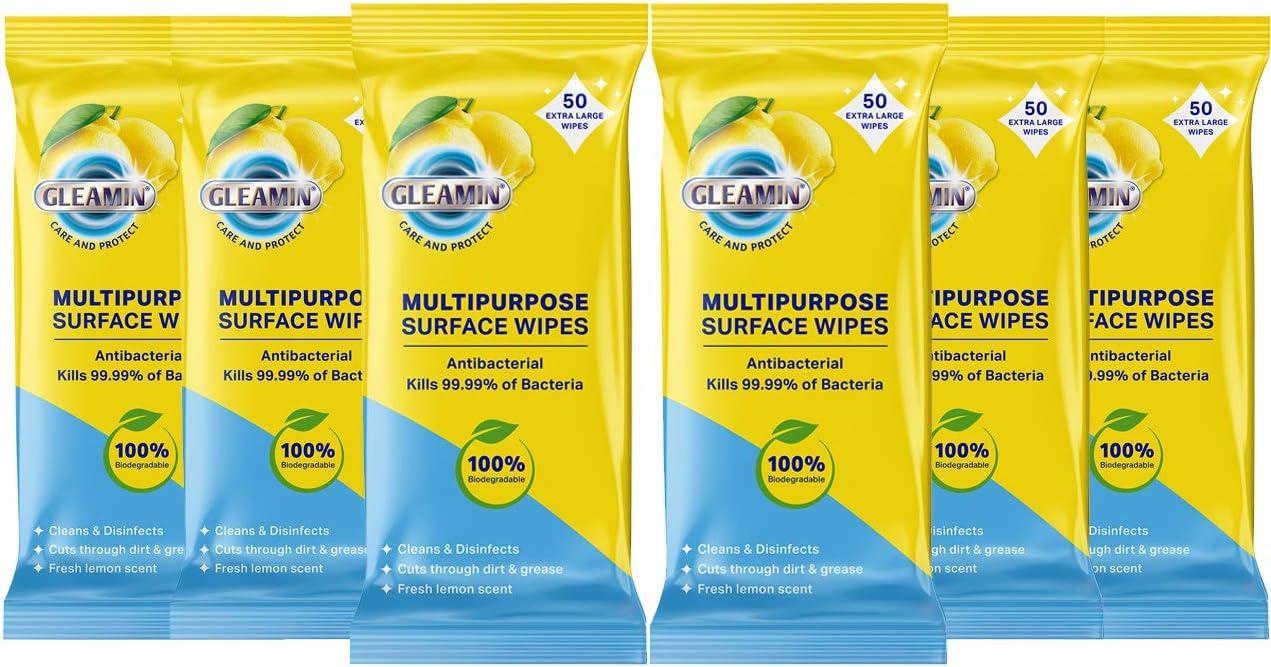 100/% Biodegradable Kills 99.99/% of Bacteria **Offer ** Gleamin Antibacterial Multipurpose Surface Wipes 300 Wipes Plastic Free 50 Wipes per Pack 6 Packs