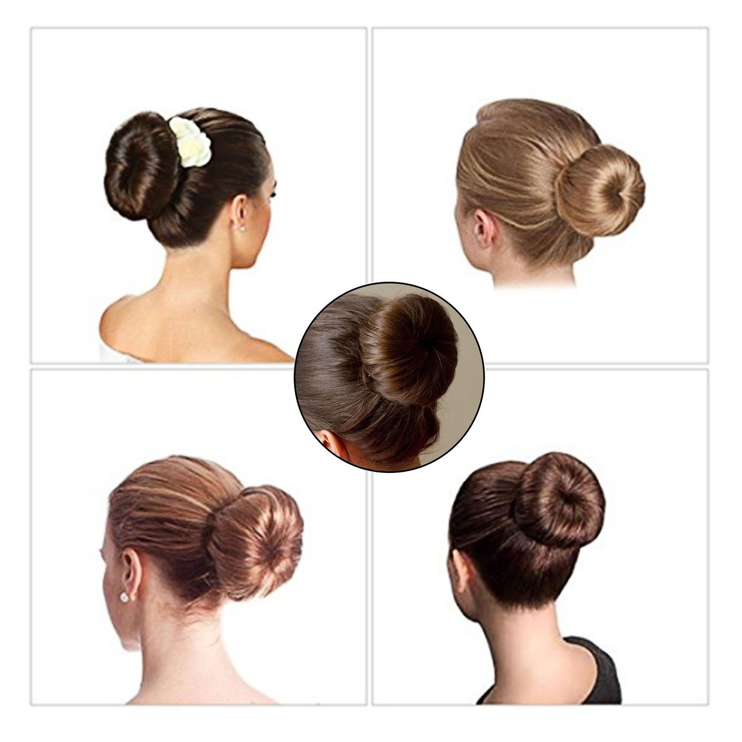 Hair bun maker-3 Pack Hair bun dount+10 Piece Professional Multicolor Plastic Hair Clips+Hair rope, Hair Styling Making DIY Curler Roller Hairstyle Tools by haomiao (Image #7)